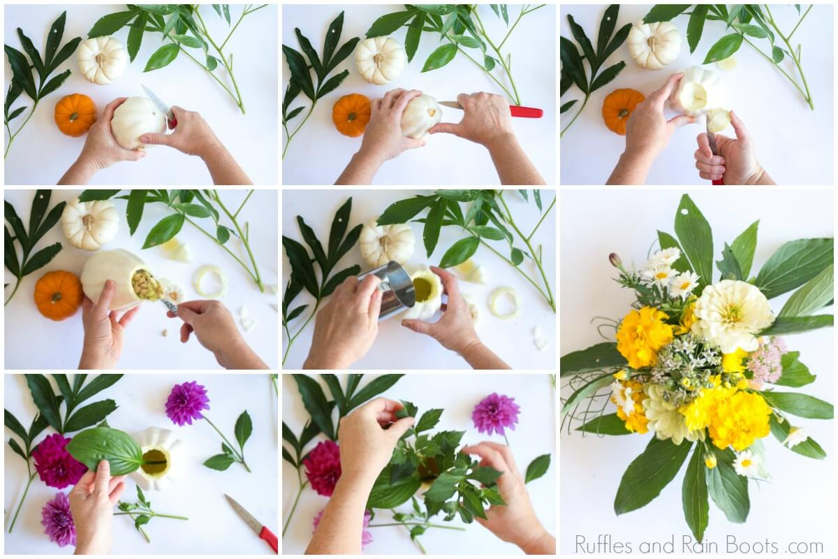 photo collage of woman making a pumpkin vase for floral arrangement