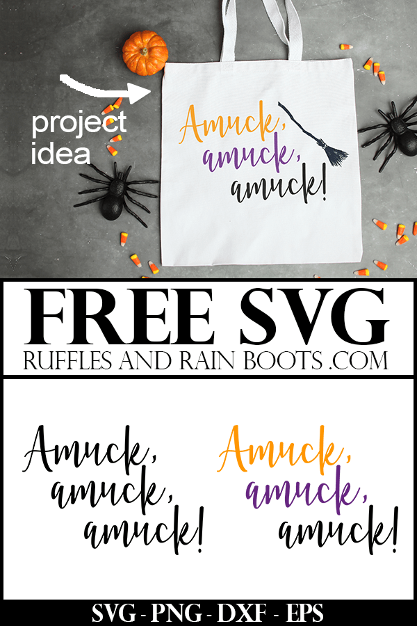 Amuck Hocus Pocus free cutting file used on white tote back with spiders and candy corn with text which reads Free SVG