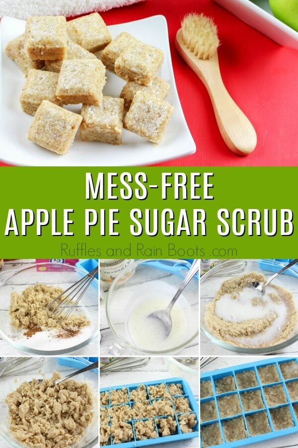 photo collage of sugar scrub cubes with text which reads mess-free apple pie sugar scrub