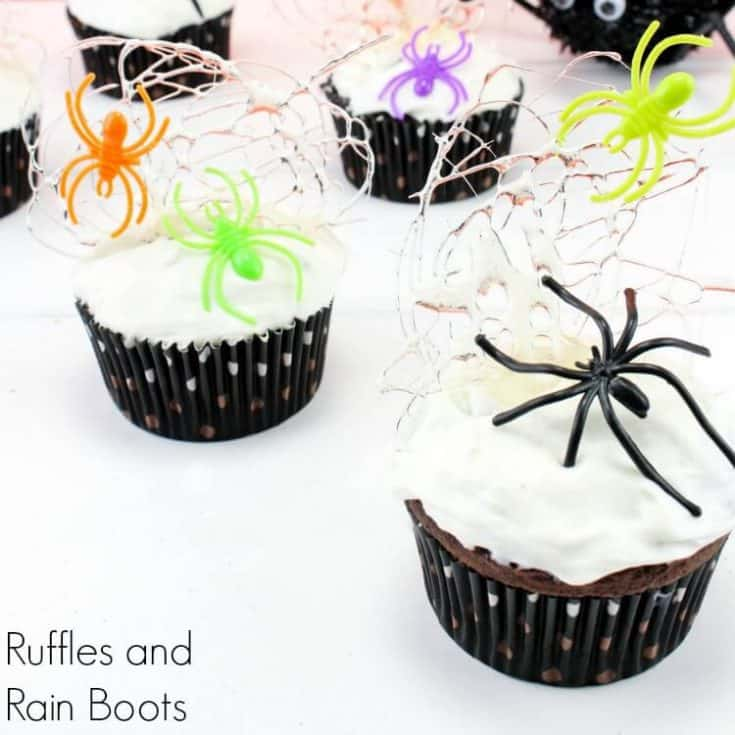 spider cupcakes on white background with sugar spun webs