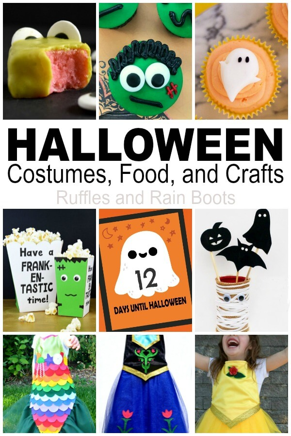 photo collage of Halloween activities for kids with text which reads Halloween costumes, food, and crafts