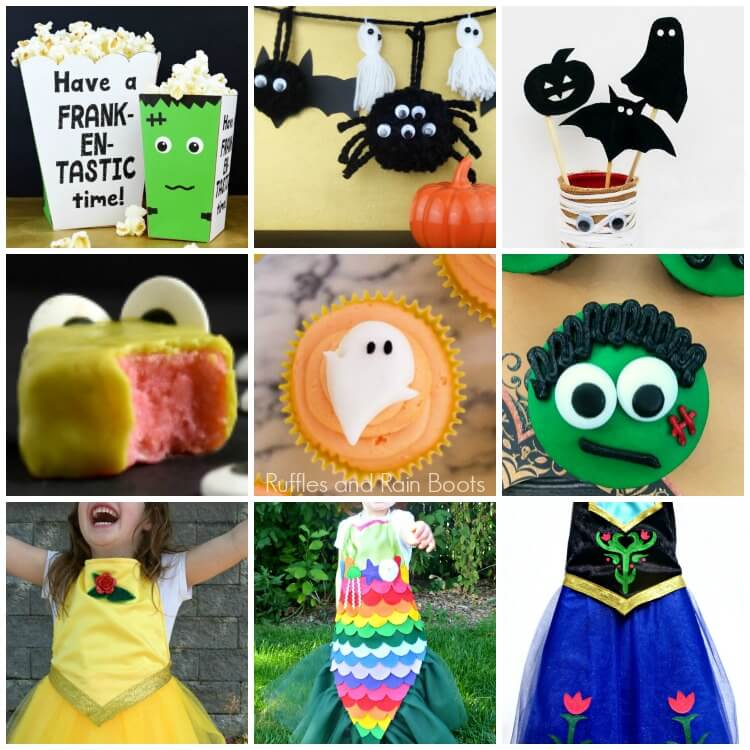 photo collage with Halloween crafts, Halloween cupcakes, and Halloween costumes with text which reads Ruffles and Rain Boots