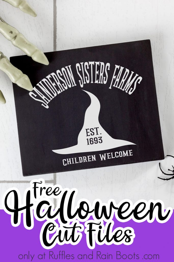 sanderson sisters farm svg on a sign with text which reads free halloween cut files