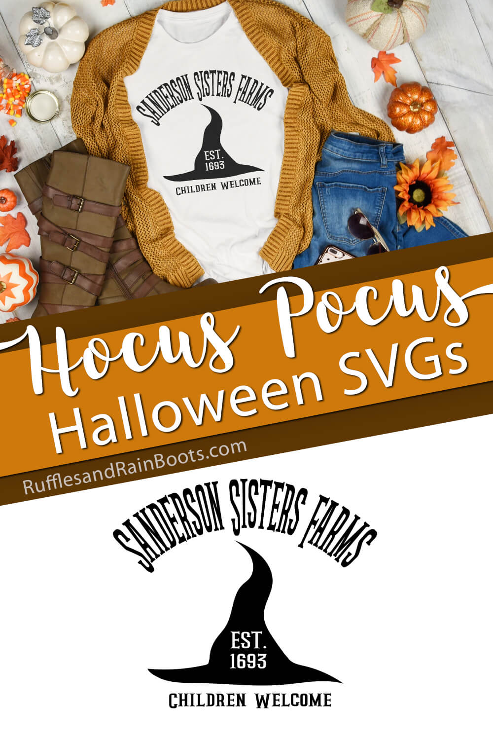 photo collage of witch hat with sanderson sisters farms svg with text which reads hocus pocus halloween svgs