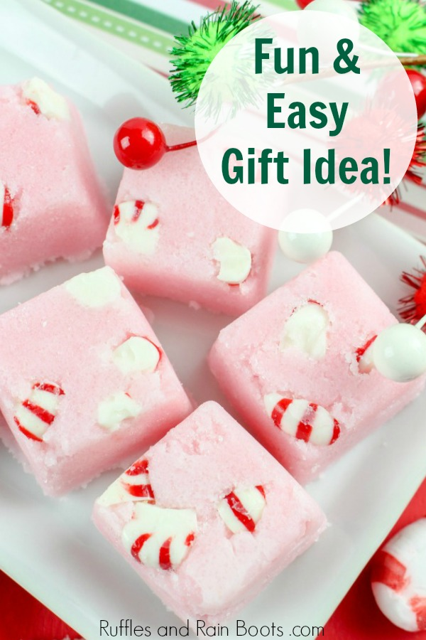 candy cane sugar scrub cubes on white place with text which reads fun and easy gift idea