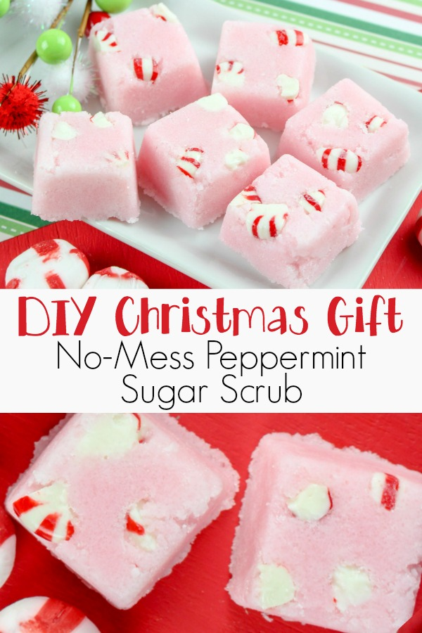 photo collage of peppermint body scrub with text which reads DIY Christmas gift no-mess peppermint sugar scrub