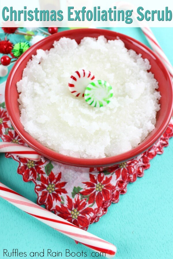 holiday gift idea of an easy sugar scrub made with vanilla and peppermint essential oils