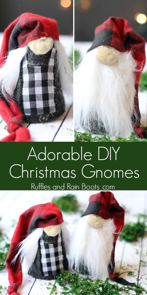 collage Christmas gnomes on white wood background with text which reads adorable DIY Christmas gnomes