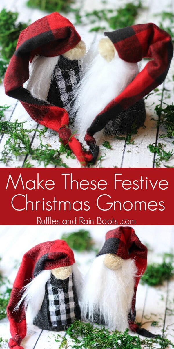 two photos of male and female Scandinavian gnomes with text which reads make these festive Christmas gnomes