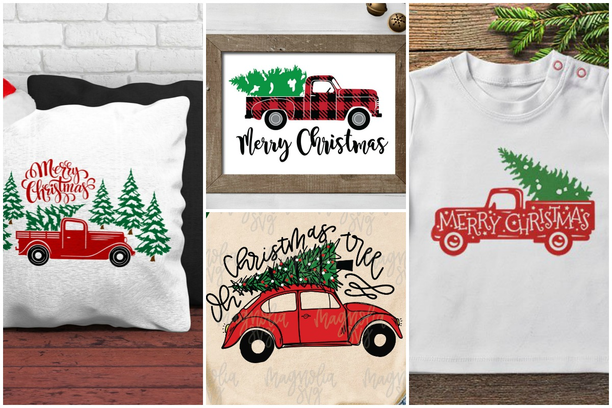 photo collage of vintage red Christmas truck SVG projects