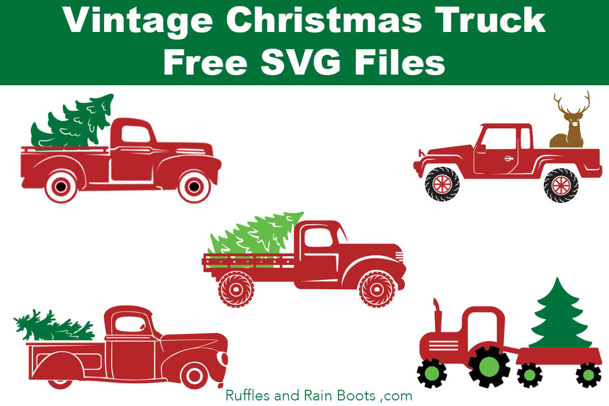 collage of cut files with text which reads Vintage Christmas truck SVG files