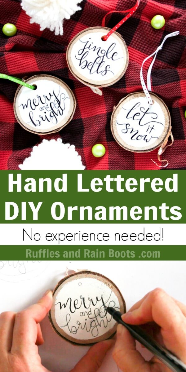 photo collage of DIY hand lettered Christmas ornaments on Buffalo plaid background with text which reads Hand Lettered DIY Ornaments