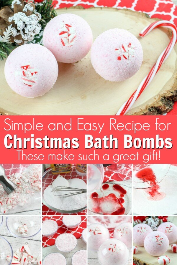 Photo collage of holiday bath bombs and shower fizzies with text which reads Simple and easy recipe for Christmas bath bombs