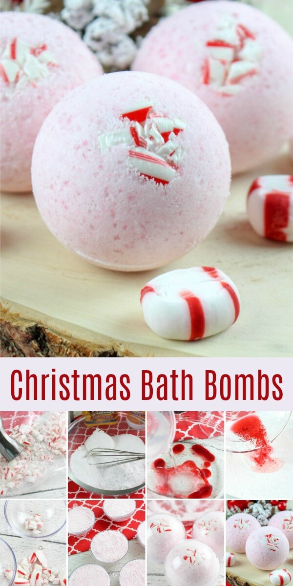 Candy Cane Christmas Bath Bomb Recipe photo collage with text which reads Christmas Bath Bombs