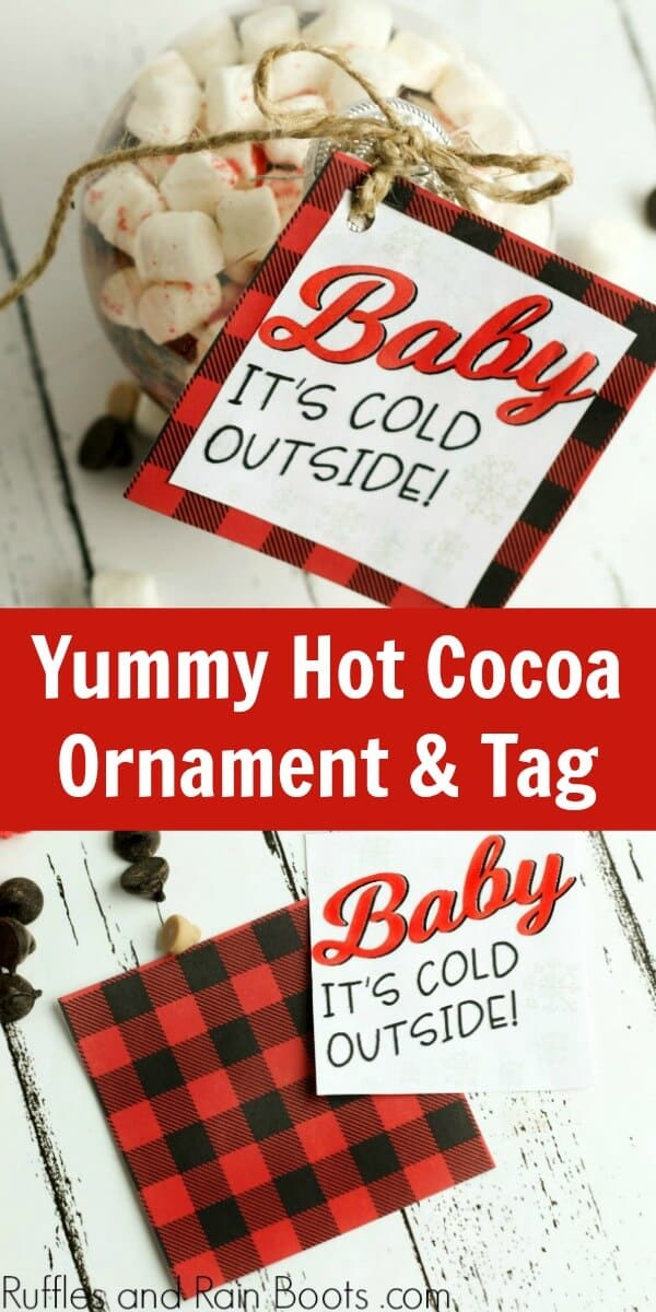 Easy Christmas Gift Idea - Salted Caramel Hot Chocolate Mix in Ornament with Printable Gift Tag