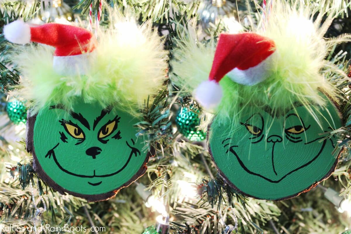 DIY Grinch ornament set for Christmas