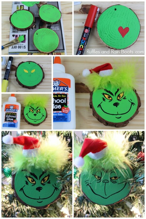 Photo collage of Grinch craft tutorial