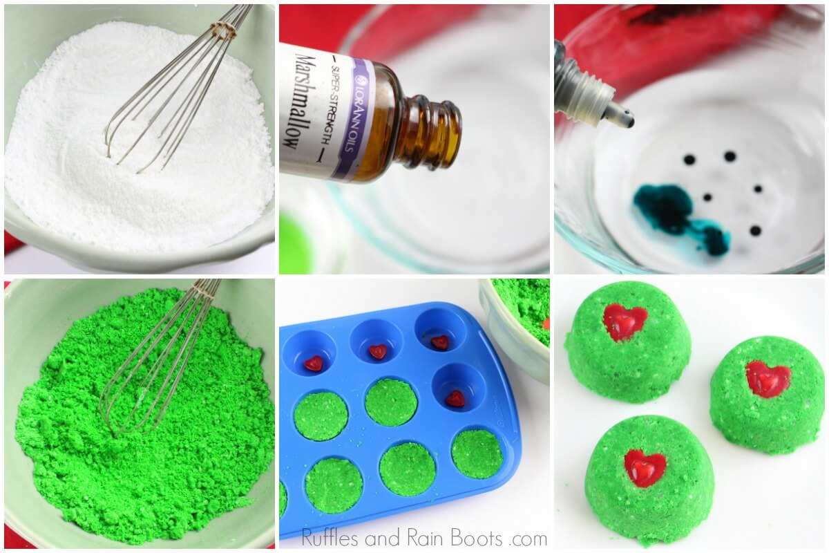 How to Make Grinch Christmas Shower Fizzies and Bath Bombs