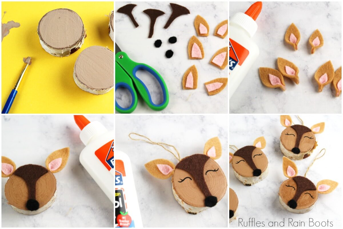 Photo collage of how to make a wood slice woodland deer ornament