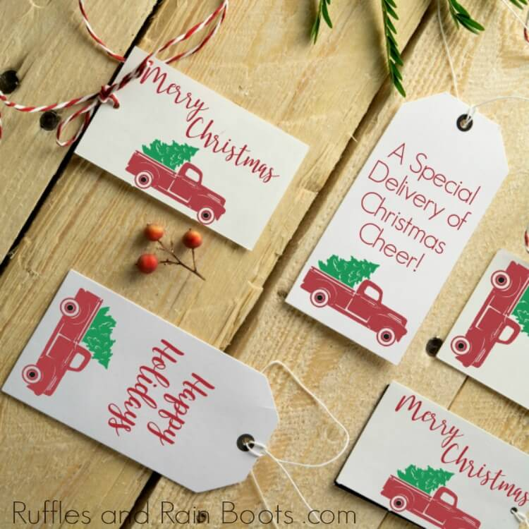 Free Printable Gift Tags with vintage Christmas truck