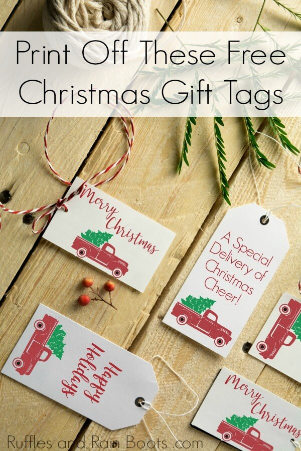Gift tags with vintage Christmas trucks on wood background with text which reads Print off these free Christmas gift tags