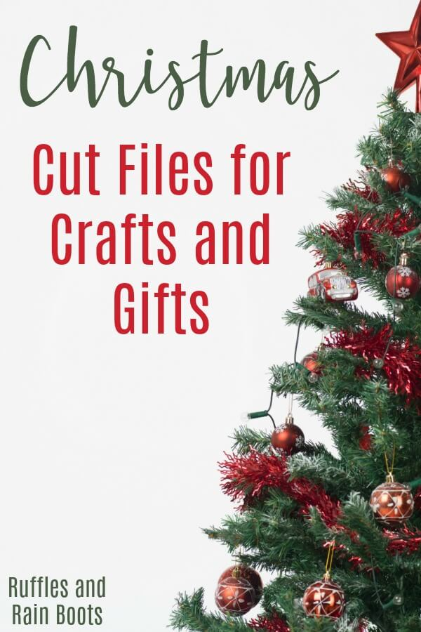 """Christmas tree with text which reads """"Free Christmas SVG files for Crafts and Gifts"""""""