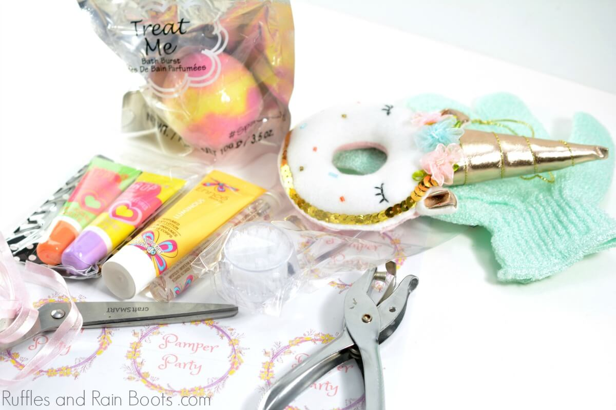 supplies to make a DIY spa gift in a jar for teen girls