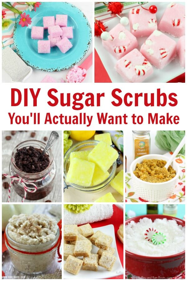 So many sugar scrubs and bath salts recipes for you to make yourself or others. Text that reads DIY sugar scrubs you'll actually want to make