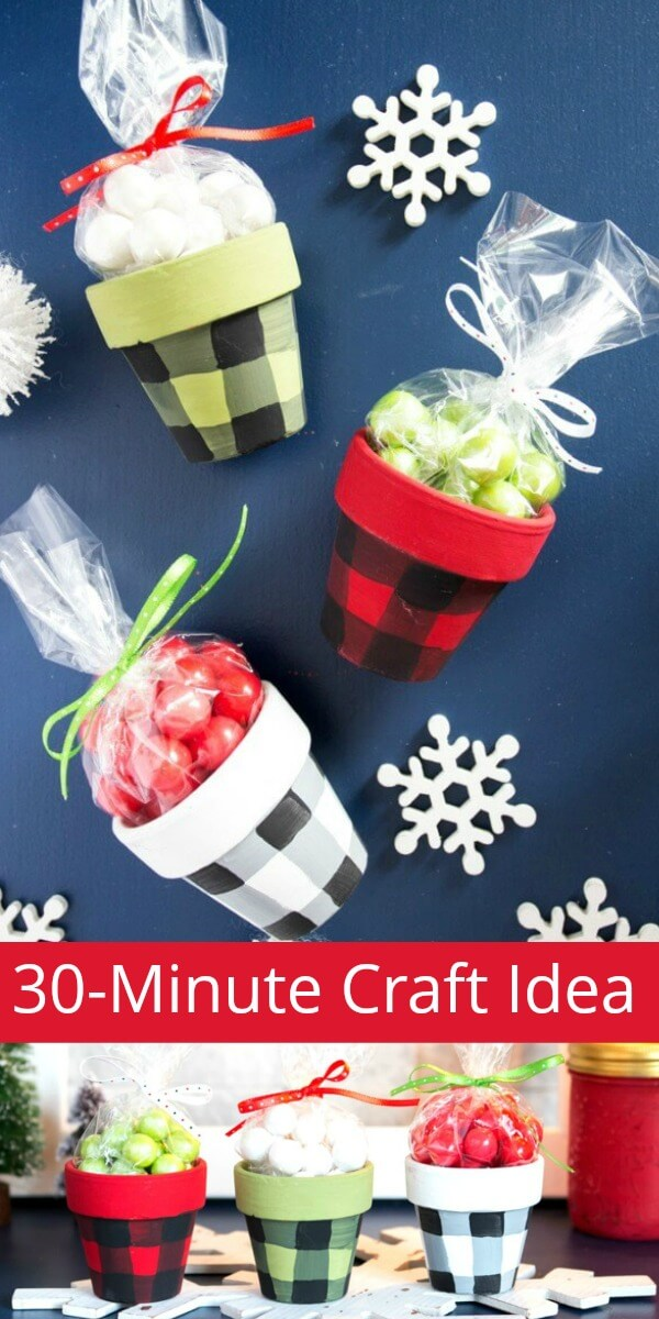 Christmas clay pots on holiday background with text which reads 30-Minute Craft ideas