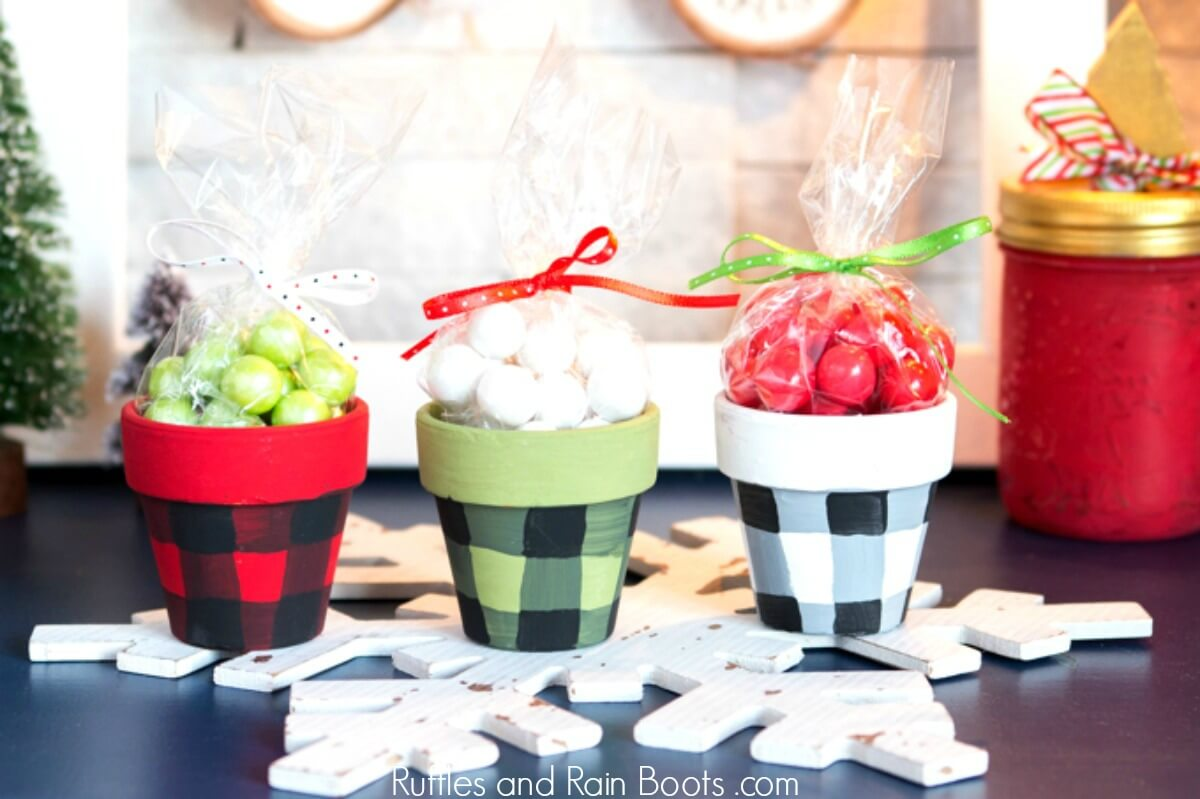 Christmas Clay Pot Craft Plaid Treat Pots