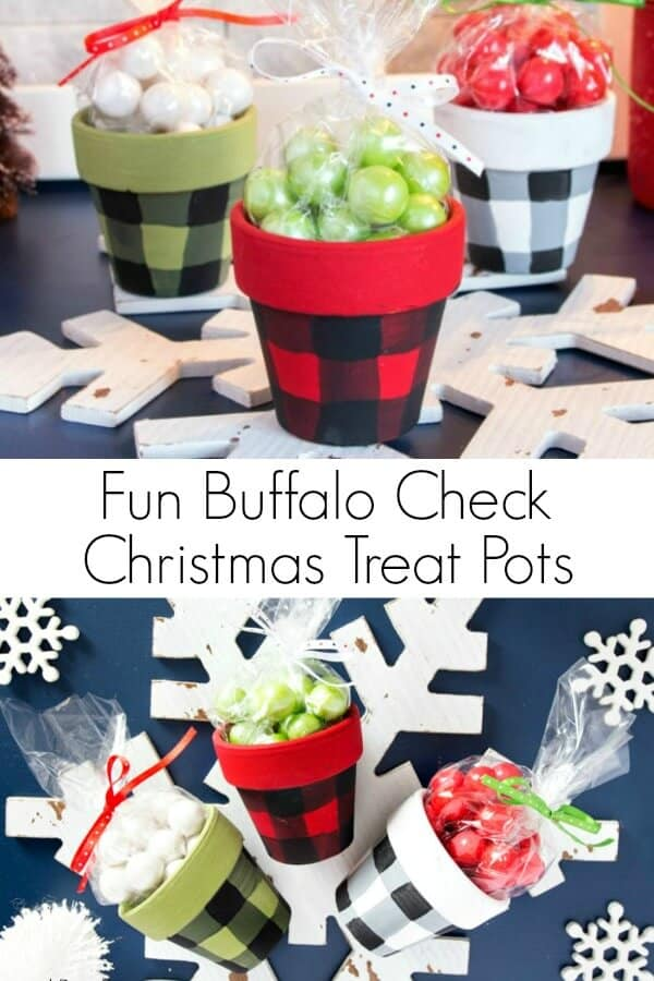 Christmas clay pot treat jars painted in Buffalo check on holiday background with text which reads Fun Buffalo Check Christmas Treat Pots