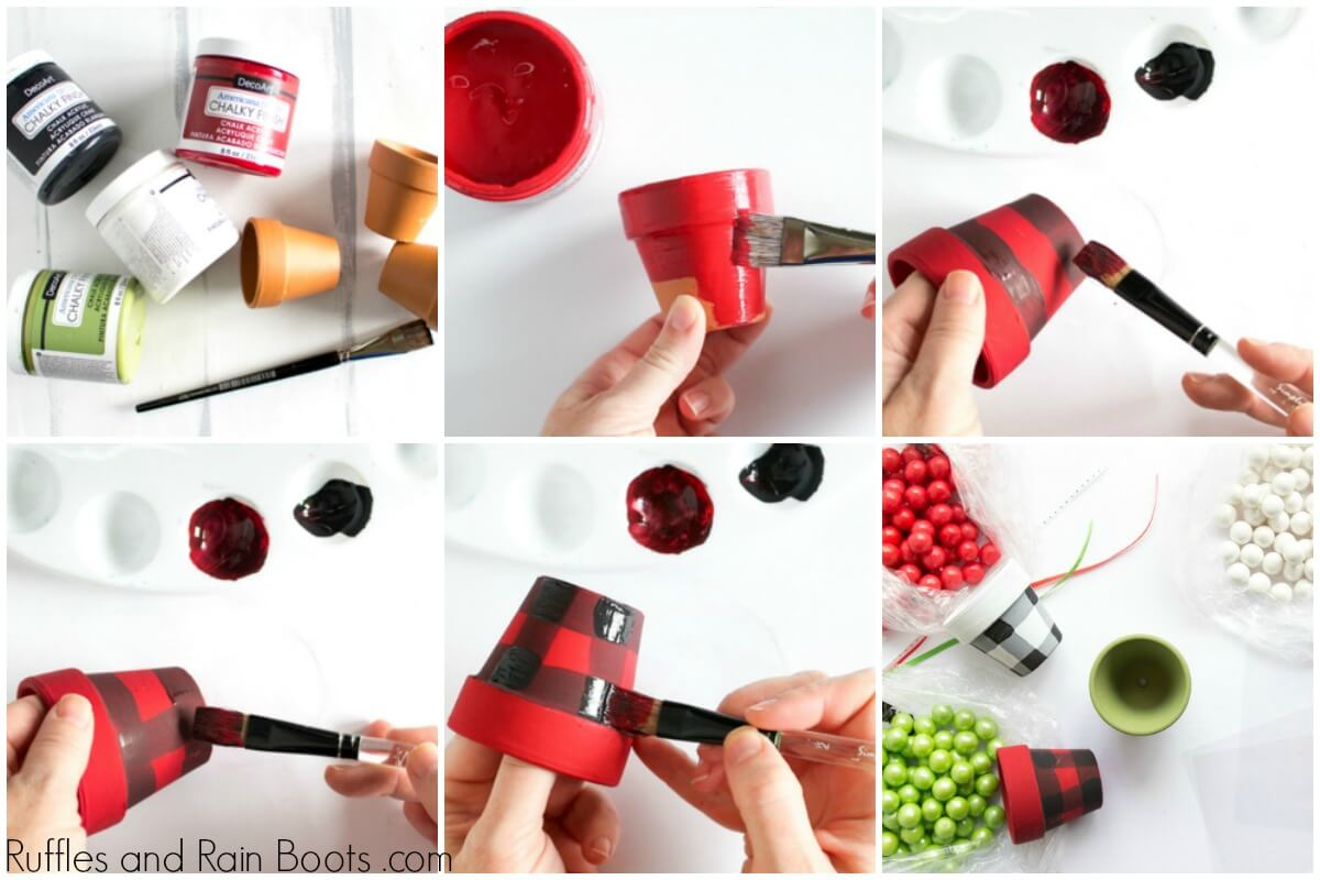 Video tutorial of 30 minute craft of painting clay pots for Christmas treats