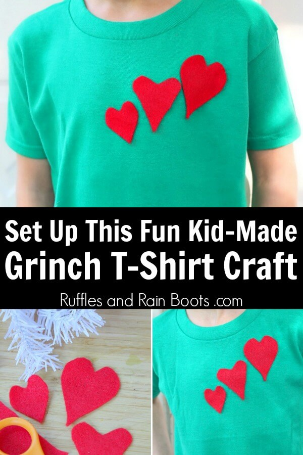 Grinch Craft for Kids - Make a Grinch Heart T Shirt with kids