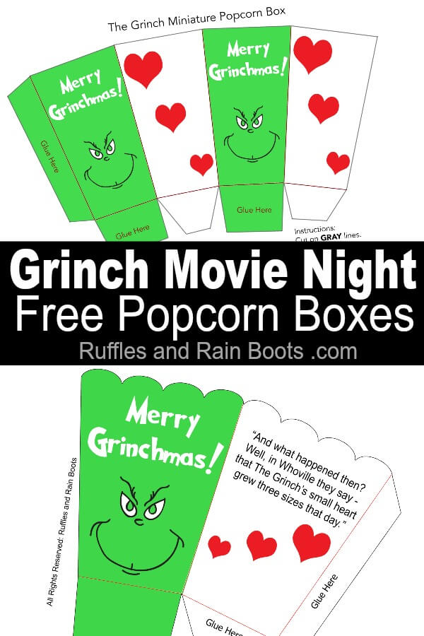 The Grinch Popcorn Box Printables For Family Movie Night