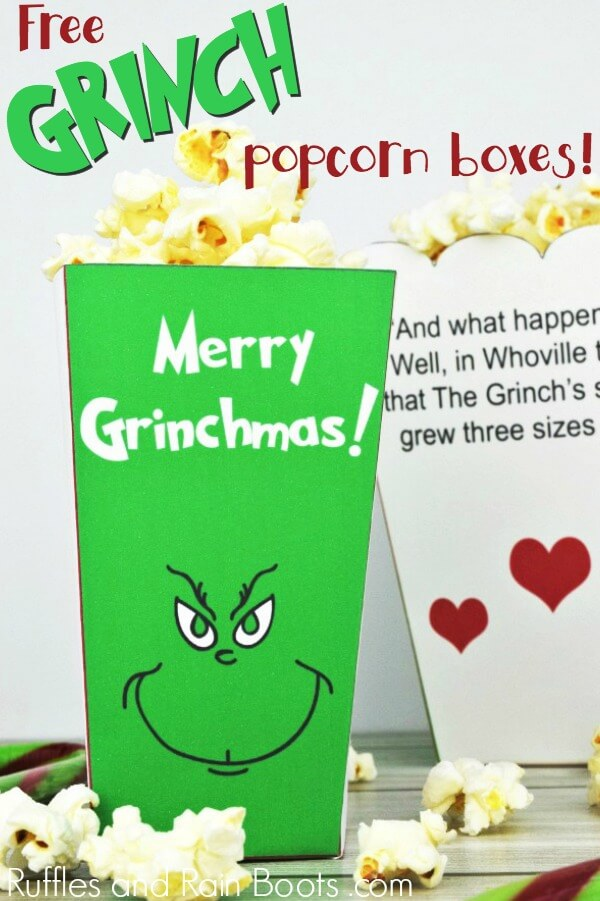 A colorful and fun photo of two printable Grinch popcorn boxes with text which reads The Grinch Popcorn Box set