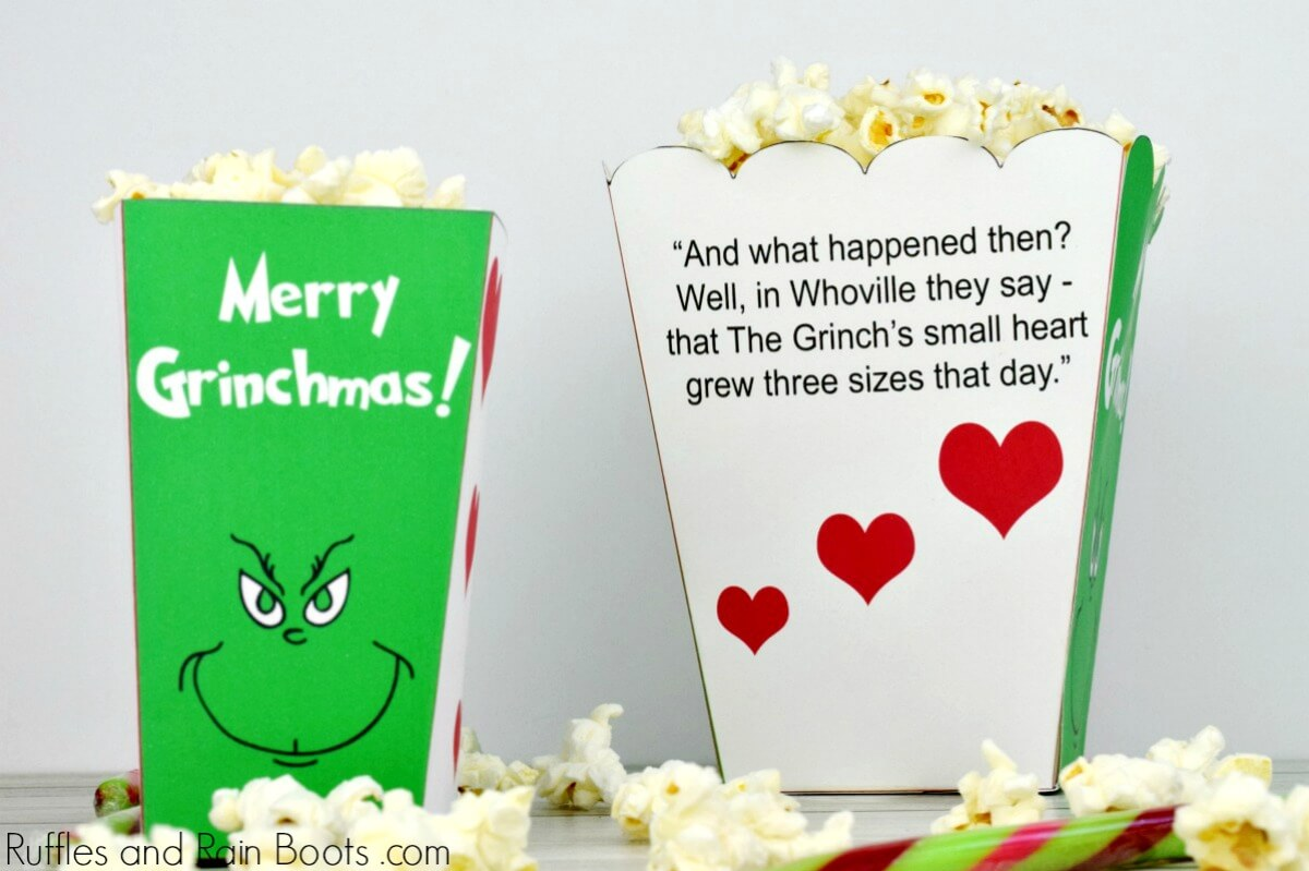 Grinch Popcorn Box Printables for Family Movie Night