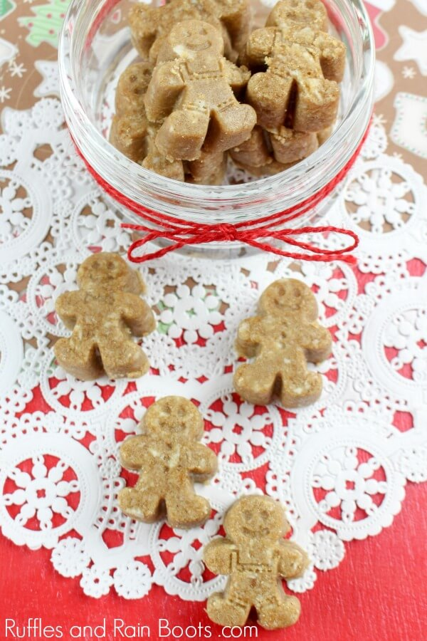 Adorable gingerbread sugar scrub cubes on lace doily