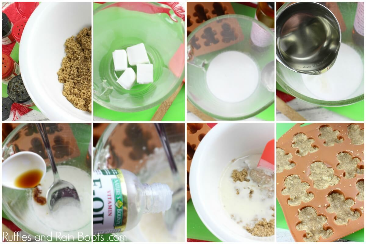 image collage of how to make a gingerbread sugar scrub recipe