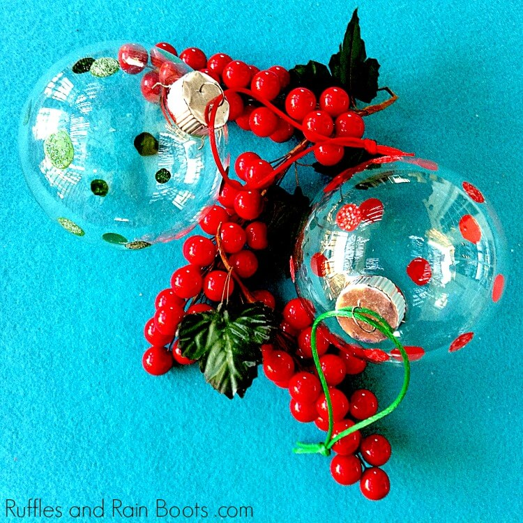 Glitter Polka Dot Ornaments Tutorial - Christmas Craft for Kids