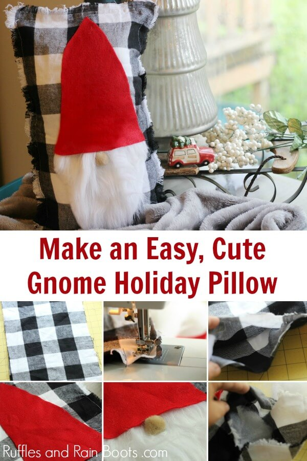 This DIY gnome pillow tutorial will have you adding holiday cheer to any décor in just minutes. Grab your hot glue gun and let's get started with this Christmas craft! #gnome #swedishgnome #scandianaviangnome #tomte #nisse #Christmaspillow