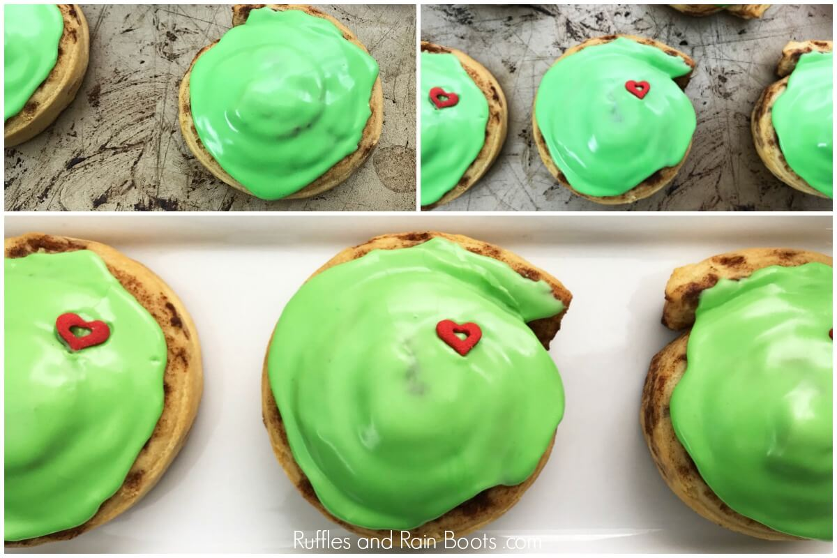 photo collage of how to make and assemble this easy Grinch cinnamon rolls recipe for a holiday breakfast