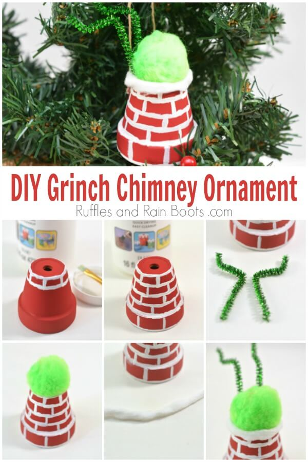 DIY Grinch ornament with photo collage of steps with text which reads DIY Grinch Chimney Ornament
