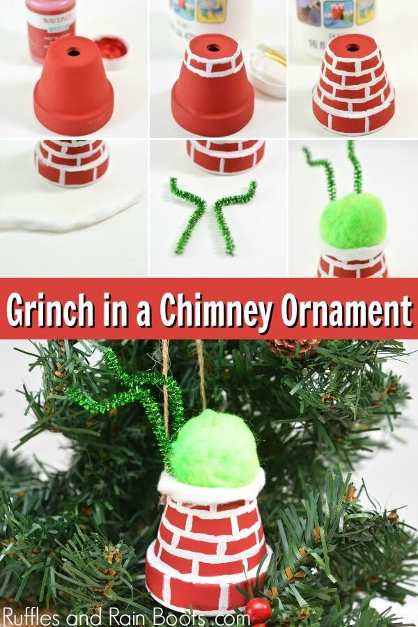 photo collage of a DIY Grinch Ornament with text which reads Grinch in a Chimney ornament