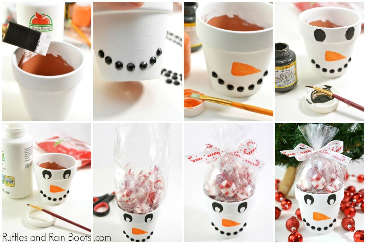 photo collage of how to make a snowman painted clay pot idea