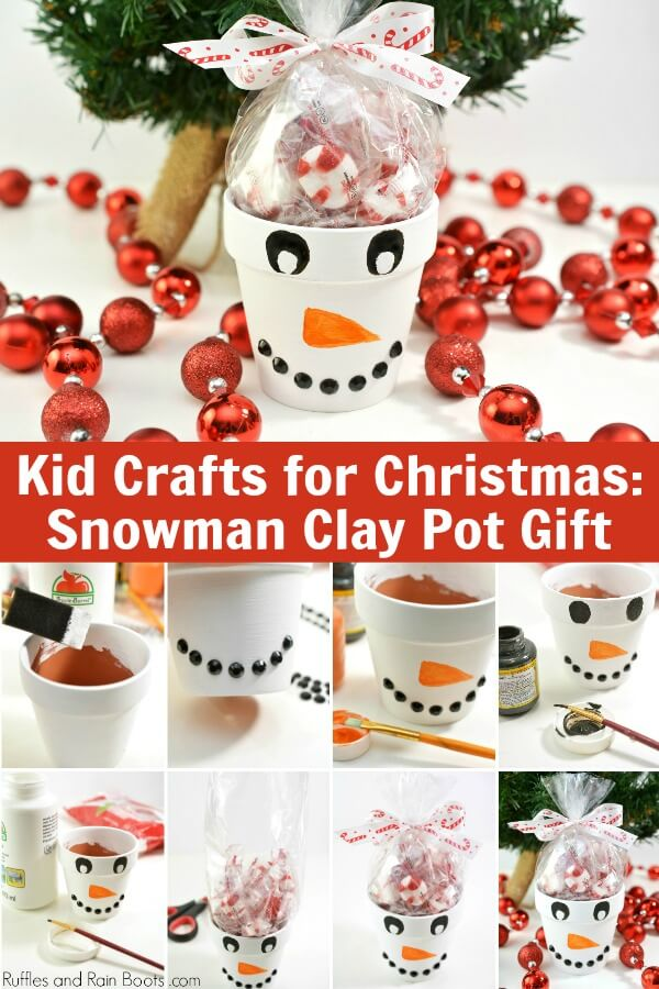 photo collage of snowman craft for kids with text which reads Kid Crafts for Christmas - snowman clay pot gift