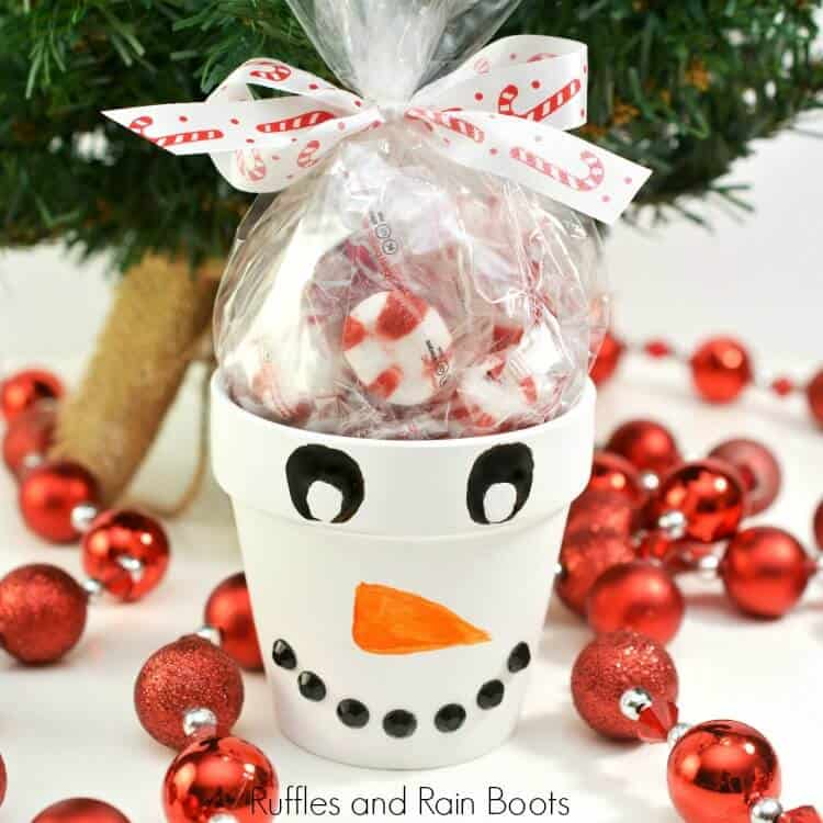 Snowman Painted Clay Pot Treat Gift