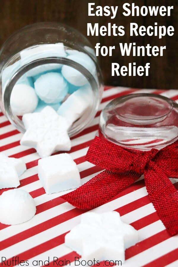 winter shower melts in glass jar with holiday background and with text which reads easy shower melts recipe for winter relief
