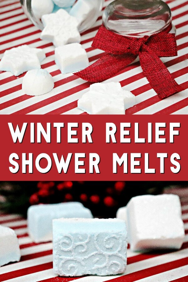photos of winter shower melts recipe on holiday background with text which reads winter relief shower melts