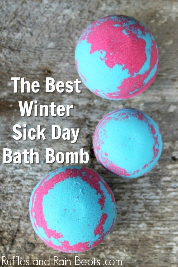 decongestant bath bomb recipe with text which reads the Best Winter Sick Day Bath Bomb