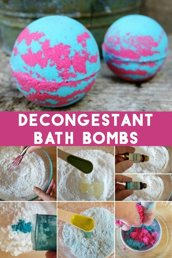 photo collage of how to make a cold relief bath bomb with text which reads decongestant bath bombs